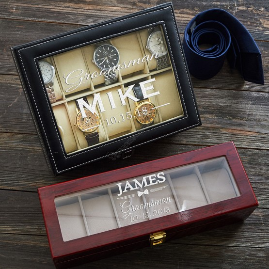 Personalized Engraved PU/Wood Watch Box