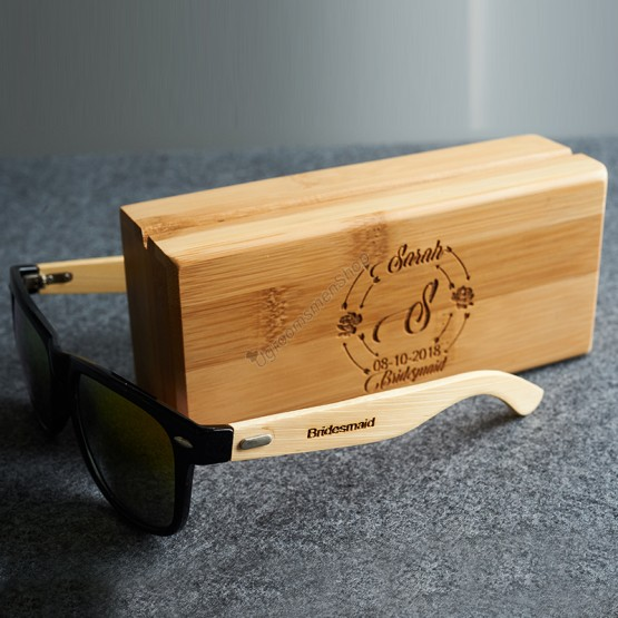 Engraved Bridesmaid Sunglasses with Wooden Box