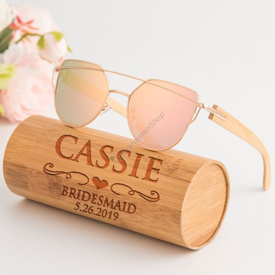 Personalized Bridesmaid Wooden Sunglasses