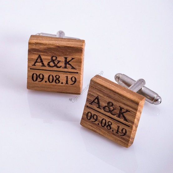 Engraved Wooden Cuff Link