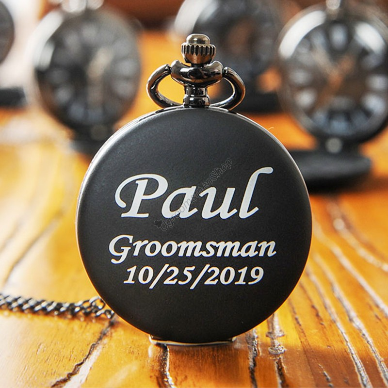 Personalized Engraved Black Pocket Watches