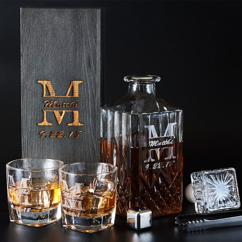 Customized Wiskey Decanter Set Groomsman Gift
