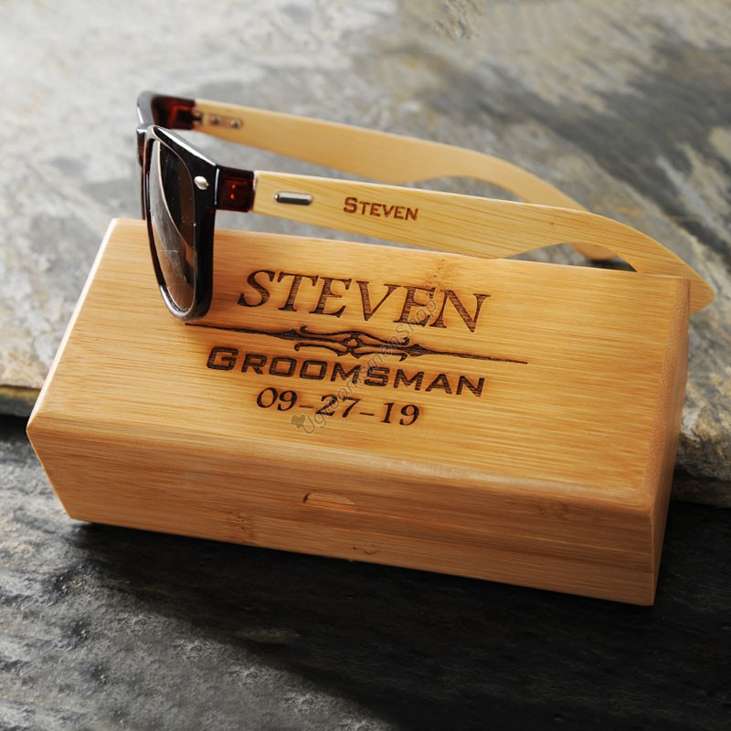 Engraved Groomsmen Sunglass with Wooden Box