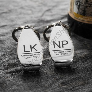 Personalized Groomsmen Bottle Opener Keychain