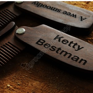 Personalized Groomsmen Wooden Folding Comb